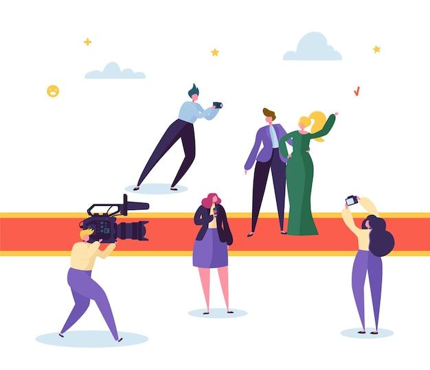 Bestes filmpreis festival red carpet concept. berühmter schöner schauspieler männlicher und weiblicher charakter, der für foto aufwirft. korrespondent mit camera live stream interview. flache karikatur-vektor-illustration