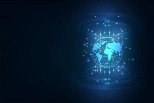 Bestes internet des globalen geschäfts globus, leuchtende linien auf technologischem hintergrund elektronik, wi-fi, strahlen, symbole internet, fernsehen, mobil- und satellitenkommunikation