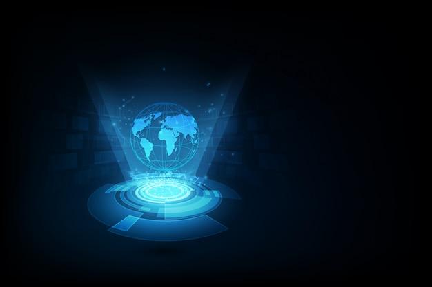 Bestes internet-konzept des globalen geschäfts. globus, leuchtende linien auf technologischen hintergrund