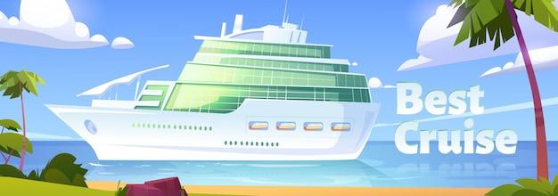 Bestes kreuzfahrt-banner-kreuzfahrtschiff im ozean