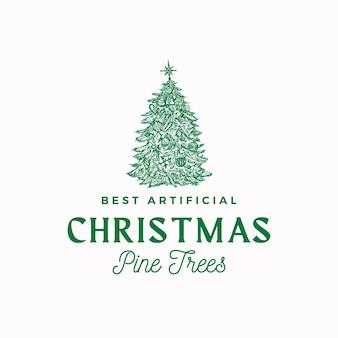 Bestes künstliches weihnachtskiefern-vektor-zeichen, symbol oder logo-vorlage. handgezeichnete urlaub dekoriert koniferen baum skizze silhouette mit retro-typografie. isoliert.
