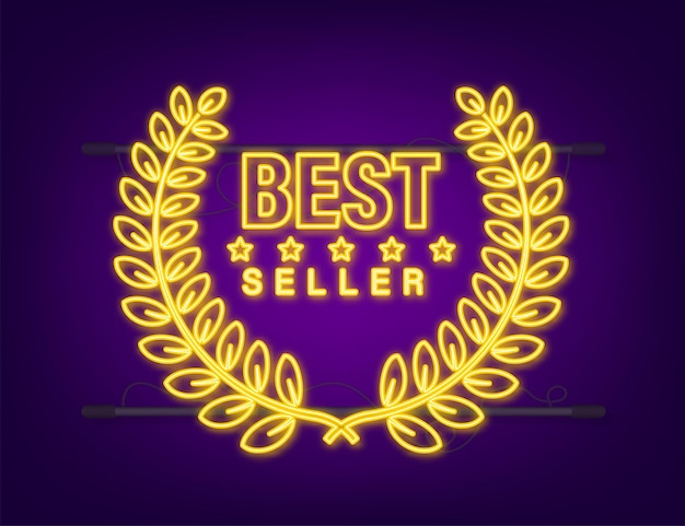 Bestseller gold leuchtreklame mit lorbeer. vektorgrafik auf lager.
