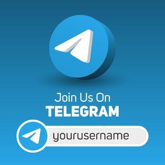 Besuchen sie uns auf dem quadratischen telegramm-banner für soziale medien mit 3d-logo und benutzername