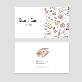 Besuchskarte mit brettspielelement, karten, schach, sanduhr, chips, würfeln, dominosteinen. gekritzel-skizzenstil.