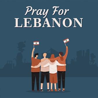 Bete für das libanon-banner. hintere ansicht der leute, die zusammen umarmen und flagge des libanon, vektor halten