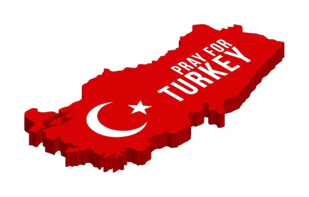 Beten sie für die türkei isometrisch, eine karte der türkei mit dem text, der um gebete wegen eines starken erdbebens in der nähe von izmir bittet