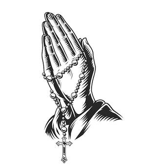Betende hände, die rosenkranzperlen halten