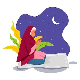 Betende muslimische frau in der flachen charakterillustration des ramadan kareem