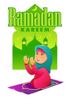 Betende muslimische frau und szene mit moschee im hintergrund. ramadan kareem.