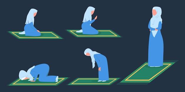 Betende position der muslimischen frau. frau in traditioneller kleidung, die schritt für schritt ein religionsritual durchführt.