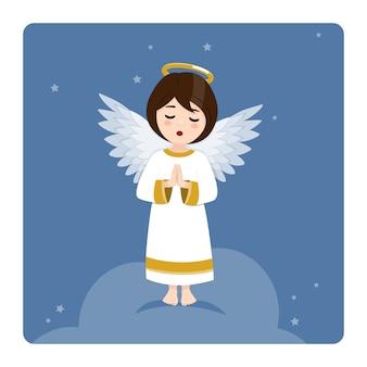 Betender engel auf blauem himmel und sternen. flache vektorillustration