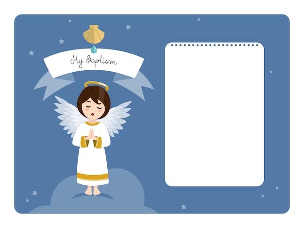 Betender engel. horizontale einladung der taufe mit nachricht. flache vektorillustration