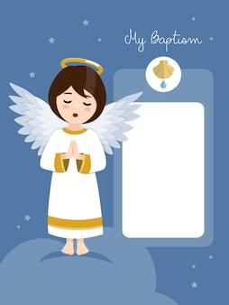 Betender engel. taufeinladung mit nachricht auf blauem himmel und sternen. flache vektorillustration