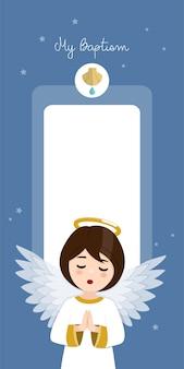 Betender engel. vertikale einladung der taufe auf einladung des blauen himmels und der sterne. flache vektorillustration