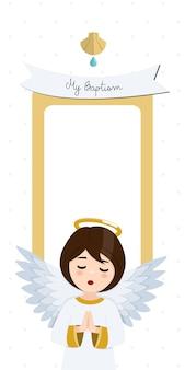 Betender engel. vertikale einladung der taufe mit nachricht. flache vektorillustration