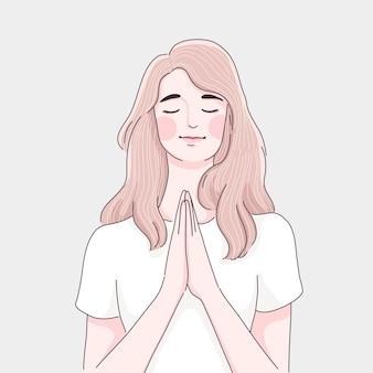 Betendes mädchen cartoon-illustration