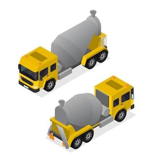 Betonmischer isometrische ansicht ausrüstung für die bauindustrie, zementtransport isoliert auf weißem hintergrund. vektor-illustration
