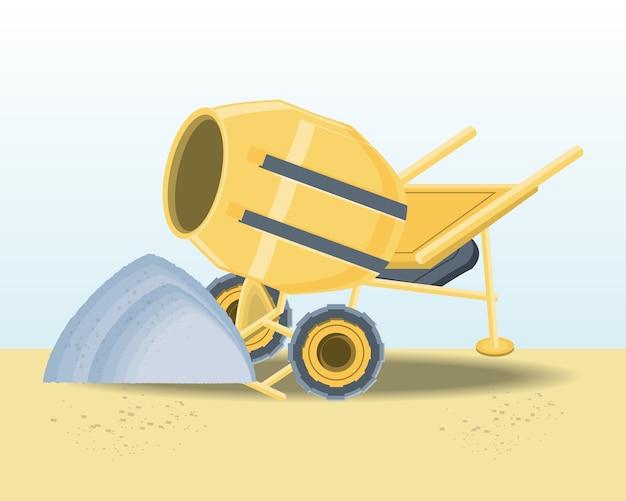 Betonmischer mit sand aus beton