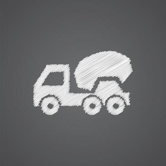 Betonmischer-skizze-logo-doodle-symbol auf dunklem hintergrund isoliert