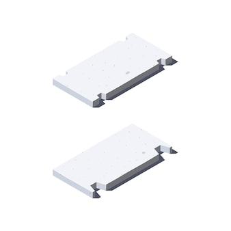 Betonplatten-symbole in der isometrischen ansicht. baustoffe für bauzwecke. isoliert auf einem weißen hintergrund im flachen stil.