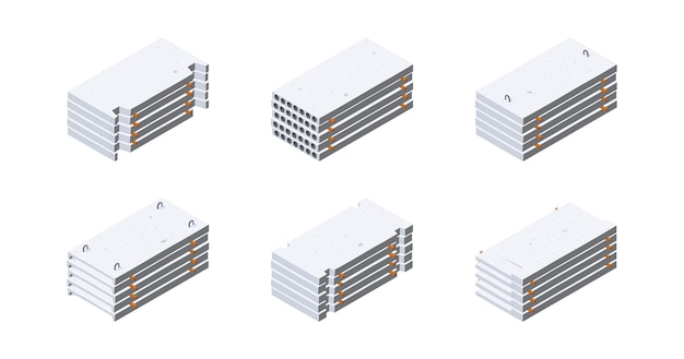 Betonplatten-symbole in der isometrischen ansicht. stapel von zementplatten. konzept zur lagerung von baustoffen.