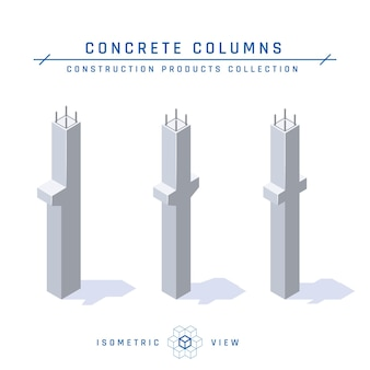 Betonsäulen, isometrische ansicht.