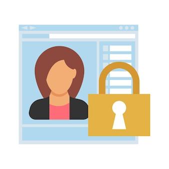 Betreten. geschlossener zugang zur website mit personenbezogenen daten einer geschäftsfrau. menschen-symbol im flachen stil. vektor-illustration
