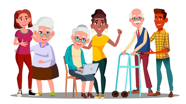 Betreuer, freiwillige, großeltern, enkelkinder