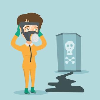 Betroffene frau in atemschutzmaske und schutzanzug.