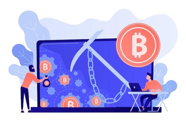 Betrüger in maske, der kryptowährung aus dem mining-pool auf dem laptop stiehlt. hidden mining, miner bot und mining virus konzept