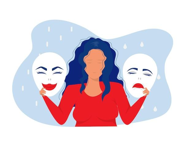 Betrügersyndrom-masken mit glücklichen oder traurigen ausdrückenbipolare störung