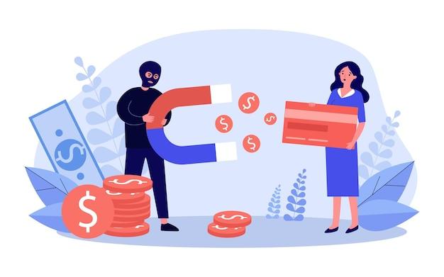 Betrug, der geld von der kreditkartenillustration stiehlt