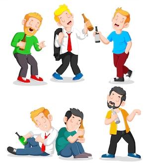 Betrunkene menschen in verschiedenen situationen