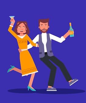 Betrunkene tanzende paar-, männliche und weibliche partygastkarikaturfiguren lokalisiert auf blauem hintergrund.