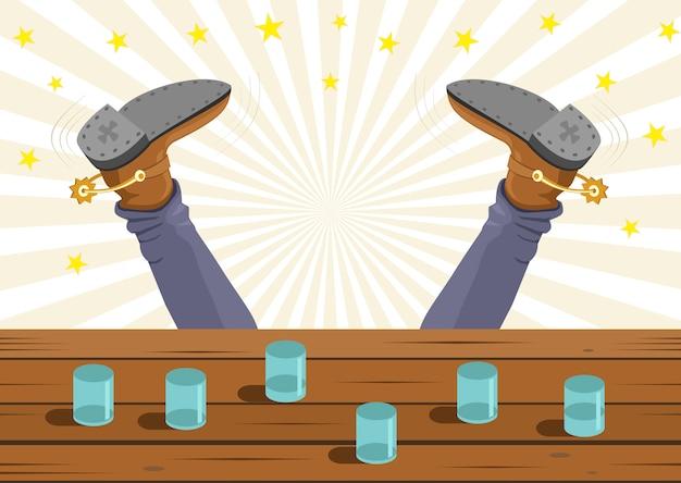 Betrunkener cowboy fiel