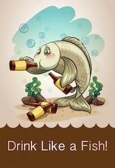 Betrunkener fisch, der alkohol trinkt