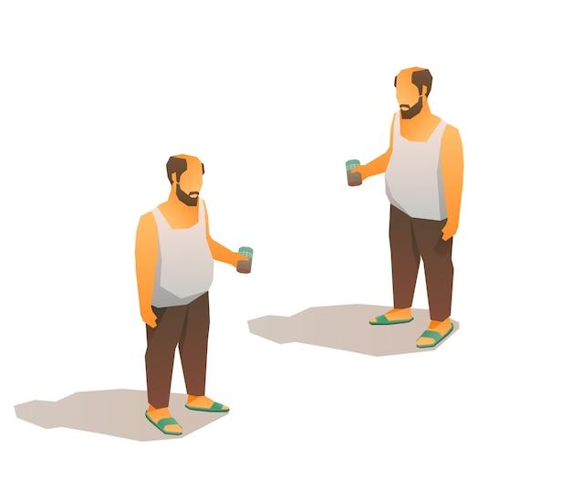 Betrunkener kahler armer mann im trägershirt mit einer bierdose