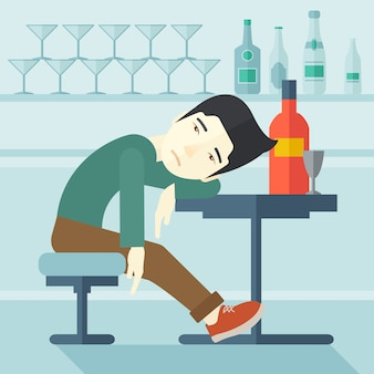 Betrunkener mann schlafen in der kneipe ein.