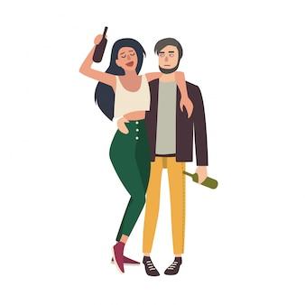 Betrunkenes paar umarmt sich. junges mädchen und kerl beschwipst mit flaschen. bunte illustration im karikaturstil.