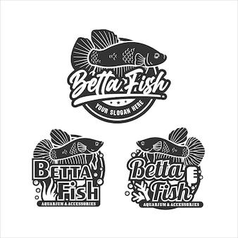 Betta fisch-design-logo-kollektion