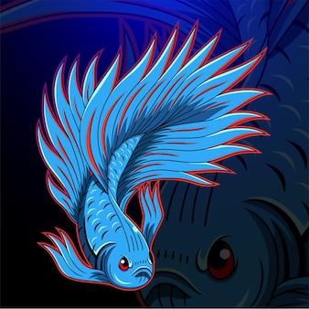 Betta fisch esport maskottchen logo