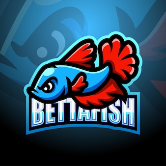 Betta fisch maskottchen esport illustration
