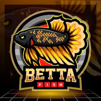 Betta fisch maskottchen esport logo design