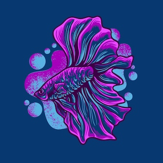 Betta fisch maskottchen logo illustration