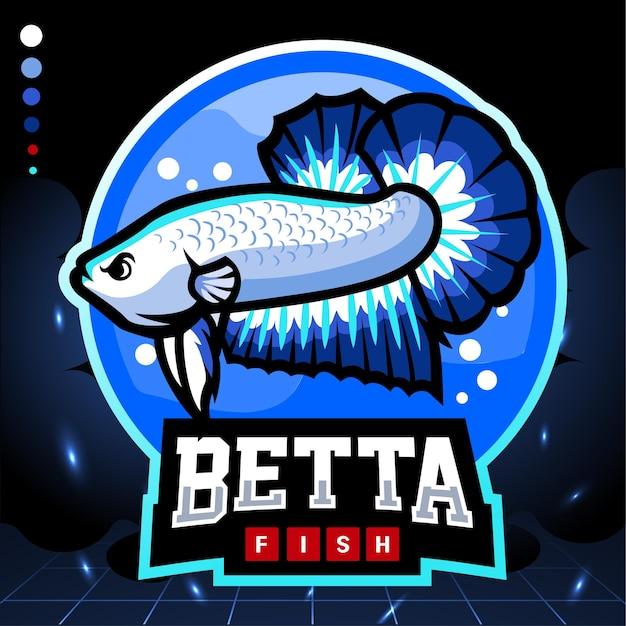 Betta fisch maskottchen mit blauem rand. esport-logo