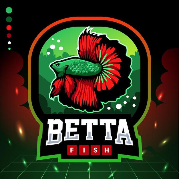 Betta fischmaskottchen. esport-logo