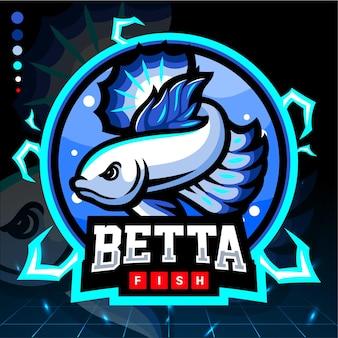 Betta fischmaskottchen mit blauem rand. esport logo design