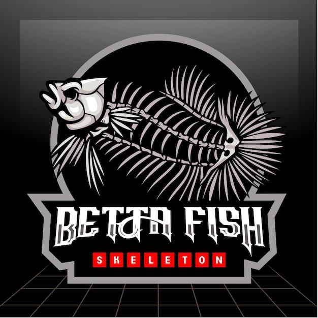 Betta fischskelett maskottchen esport logo design
