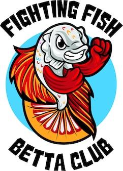 Betta fish club logo maskottchen vorlage