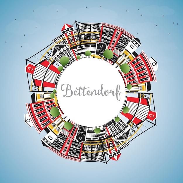 Bettendorf iowa city skyline mit farbgebäuden, blauem himmel und textfreiraum. vektor-illustration. geschäftsreise- und tourismusillustration mit moderner architektur.